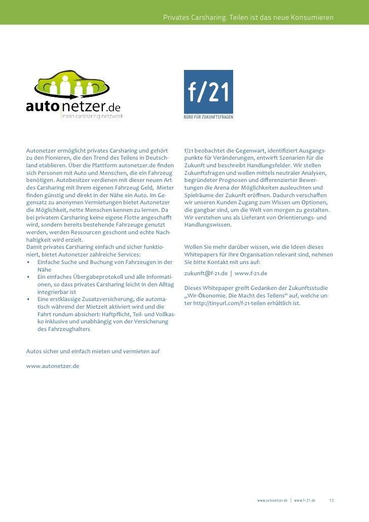 Privates Carsharing. Teilen ist das neue KonsumierenAutonetzer ermöglicht privates Carsharing und gehört           f/21 be...