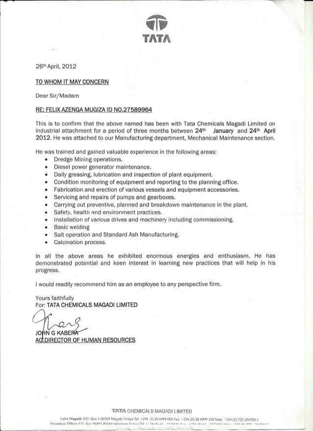 recommendation letter from tata chemicals magadi kenya