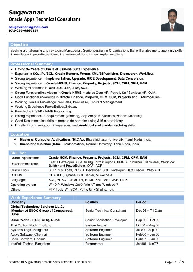 Resume of Sugavanan - Oracle Apps Technical Consultant