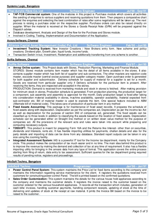 Wonderful Resume Of Sugavanan Oracle Apps Technical Consultant