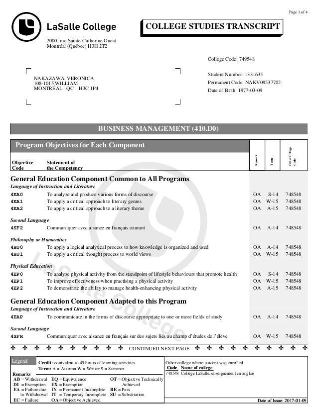 COLLEGE STUDIES TRANSCRIPT 2000, rue Sainte-Catherine Ouest Montréal (Québec) H3H 2T2 NAKAZAWA, VERONICA 108-1015 WILLIAM ...