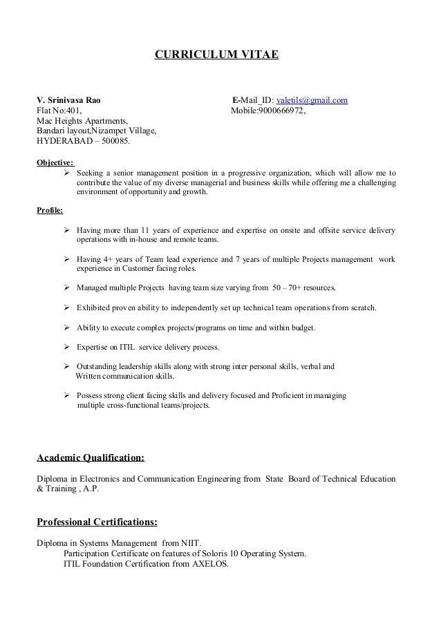 Valeti Srinivasarao Resume