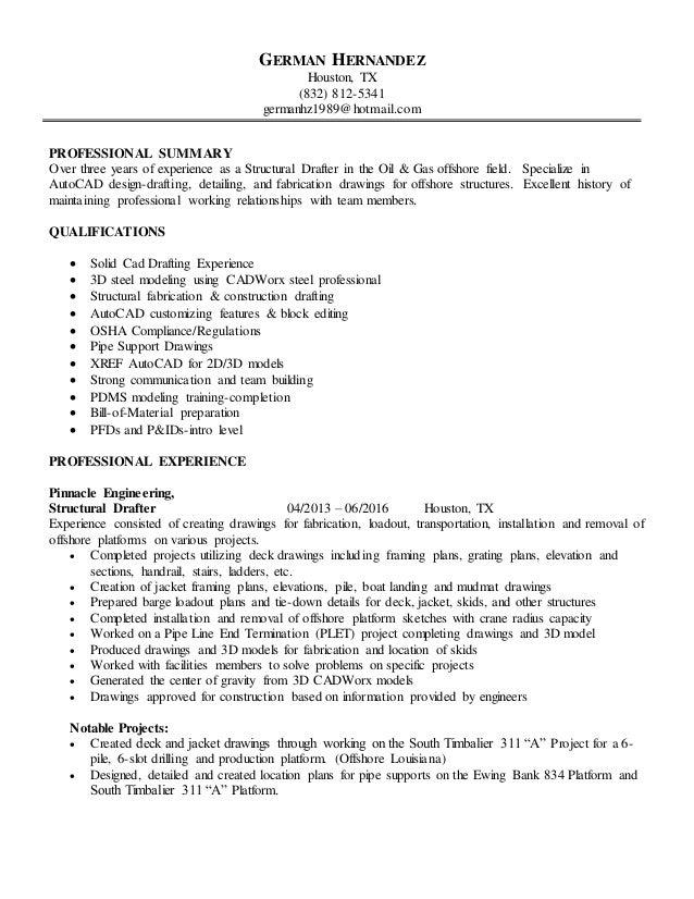 German S Drafting Resume