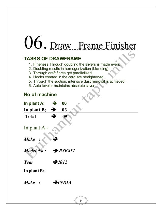 44 06.Draw Frame Finisher TASKS OF DRAWFRAME 1. Fineness Through doubling the slivers is made even. 2. Doubling results in...
