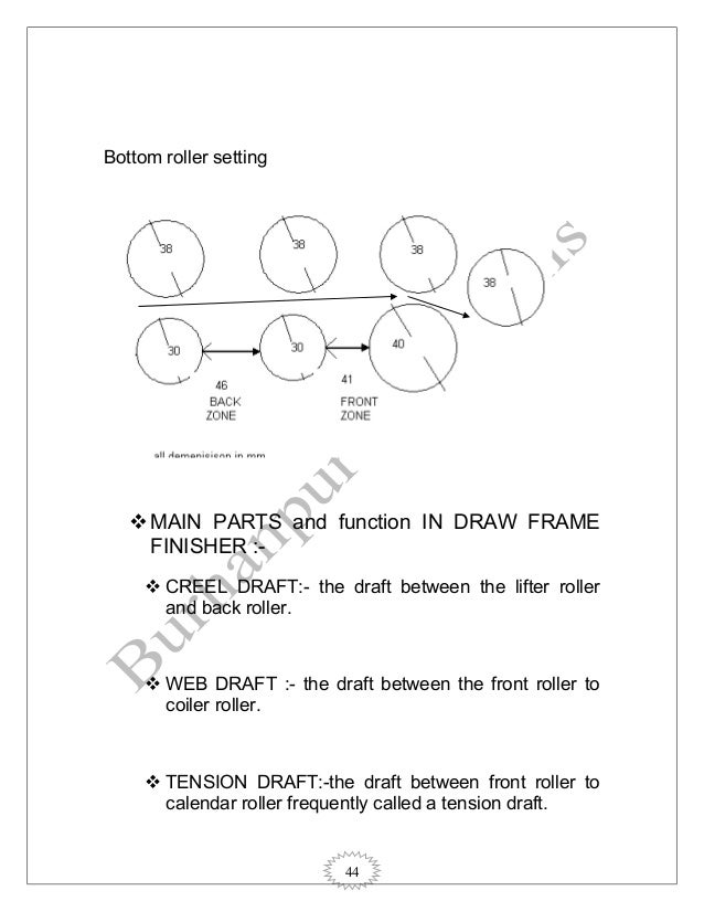 44 Bottom roller setting MAIN PARTS and function IN DRAW FRAME FINISHER :-  CREEL DRAFT:- the draft between the lifter r...