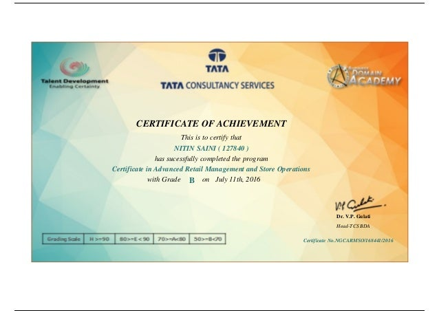 certificate tcs retail management operations advanced slideshare business upcoming domain academy