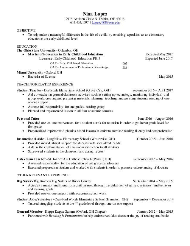 Nina Julia Lopez Teacher Resume