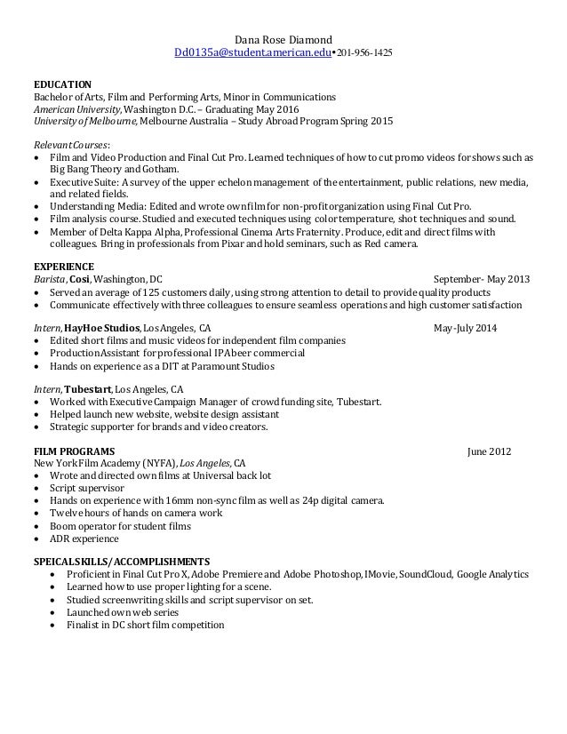 film production resume