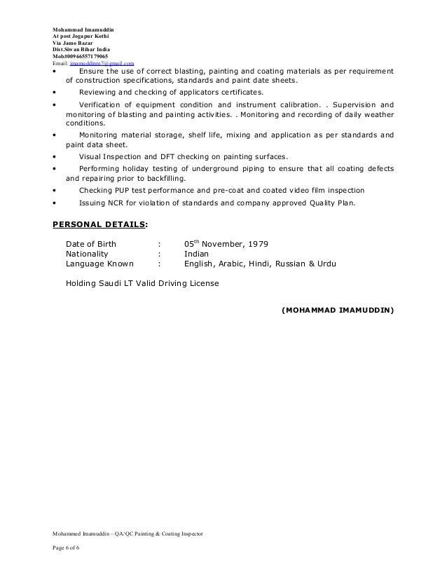 Instrument Qa Qc Inspector - Resume Examples | Resume Template
