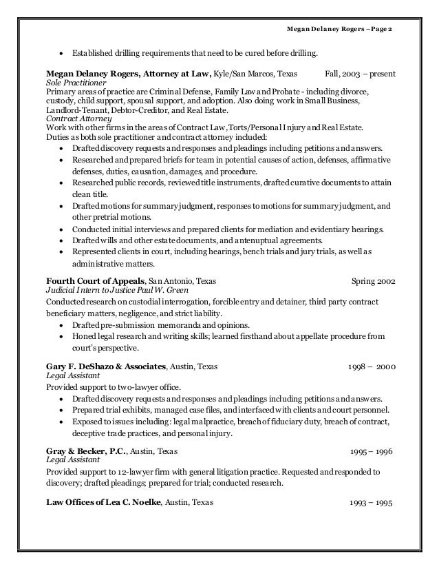 contract attorney work on resume