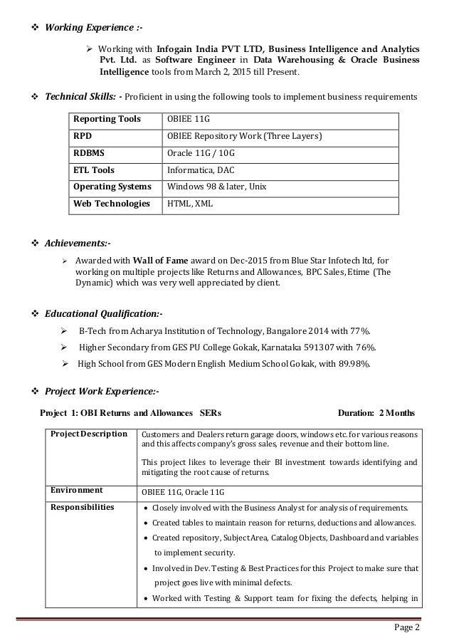 Stunning Obiee 11G Resume Photos - Simple resume Office Templates .