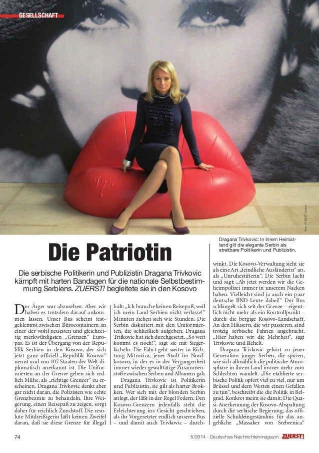 """winkt. Die Kosovo-Verwaltung sieht sie als eine Art""""feindliche Ausländerin"""" an, als """"Unruhestifterin"""". Die Serbin lacht un..."""
