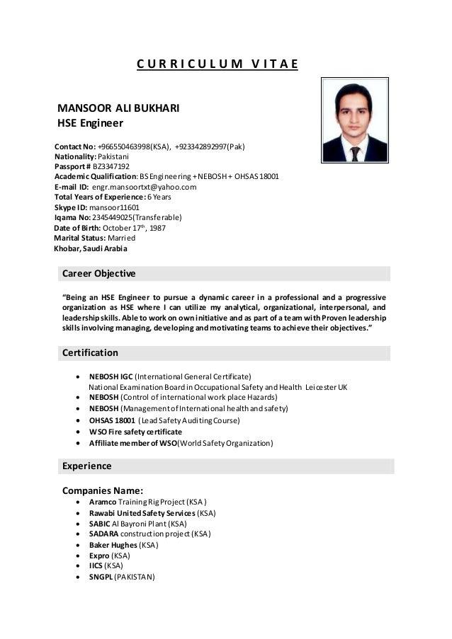 C U R I L M V T A E MANSOOR ALI BUKHARI HSE Engineer Contact No 966550463998KSA