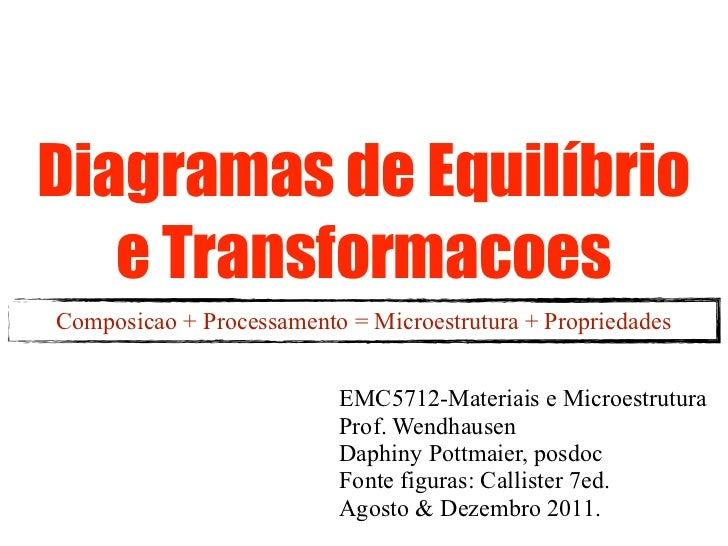 Diagramas de Equilíbrio   e TransformacoesComposicao + Processamento = Microestrutura + Propriedades                      ...