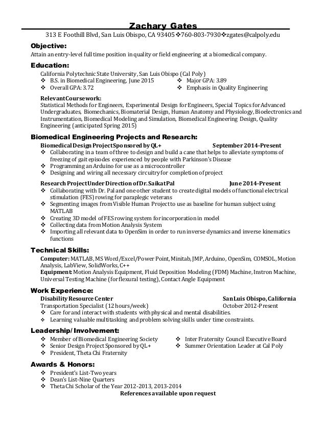 Attractive Career Fair Resume. Zachary Gates 313 E Foothill Blvd, San Luis Obispo, CA  93405760  Inside Career Resume