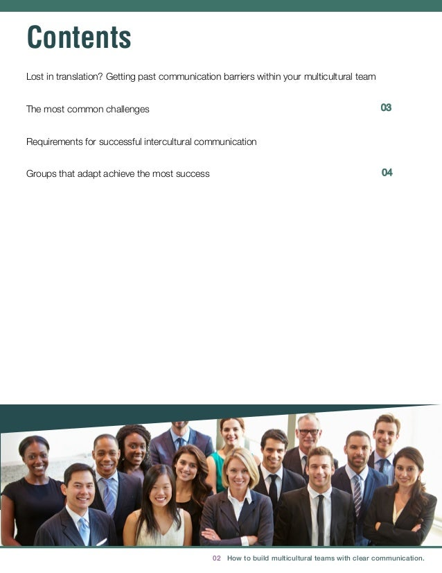 02 How to build multicultural teams with clear communication. 03 Contents Lost in translation? Getting past communicat...