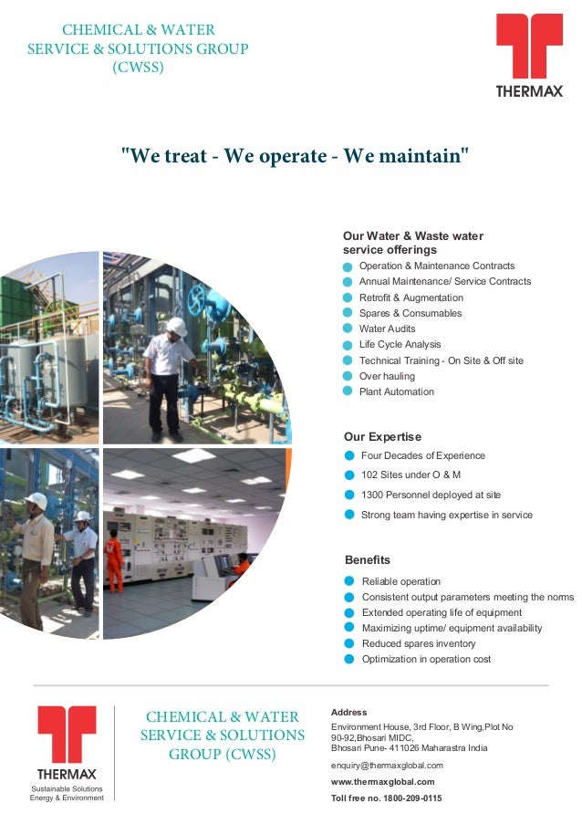 """""""We treat - We operate - We maintain"""" Our Water & Waste water service offerings Operation & Maintenance Contracts Annual M..."""