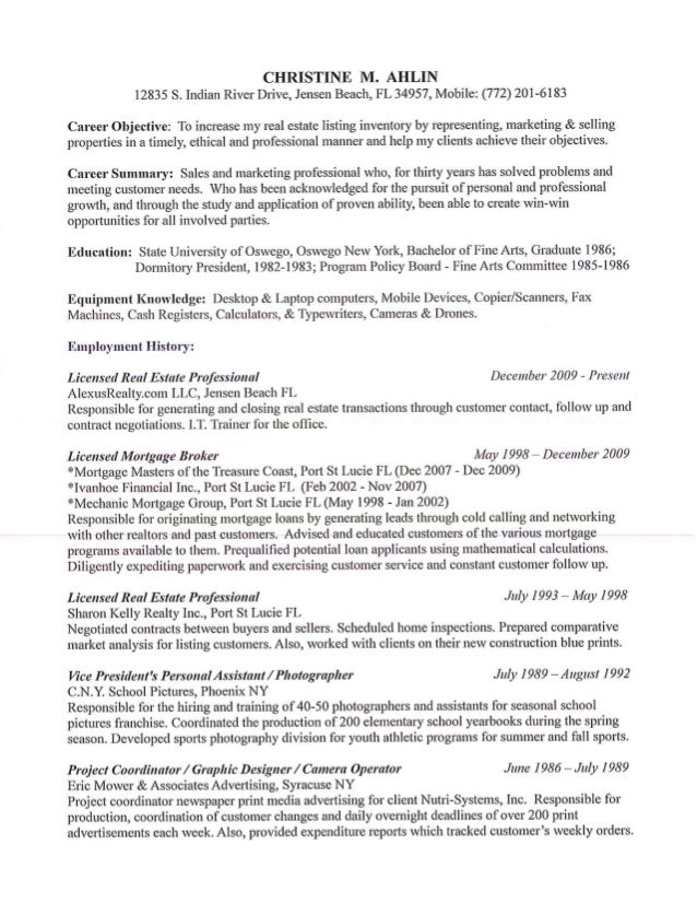 resume for reo listings