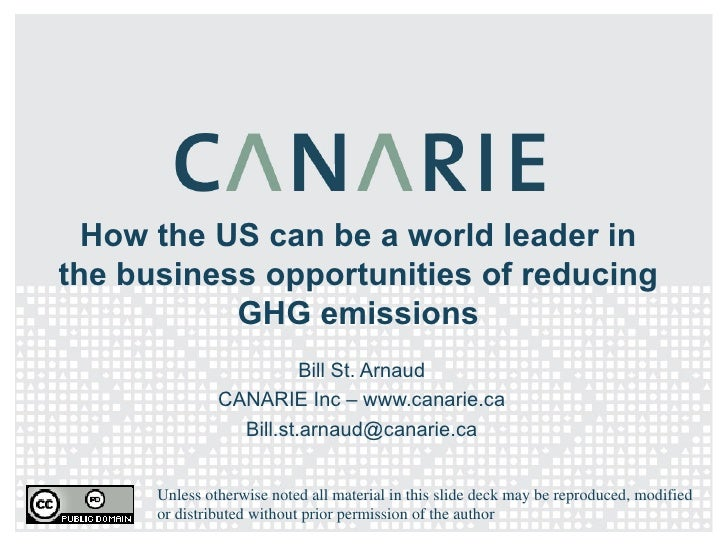 How the US can be a world leader in the business opportunities of reducing GHG emissions Bill St. Arnaud CANARIE Inc – www...
