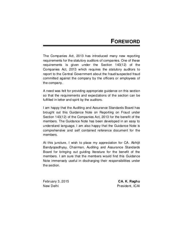 Guidance Note on Reporting of Fraud under Companies Act