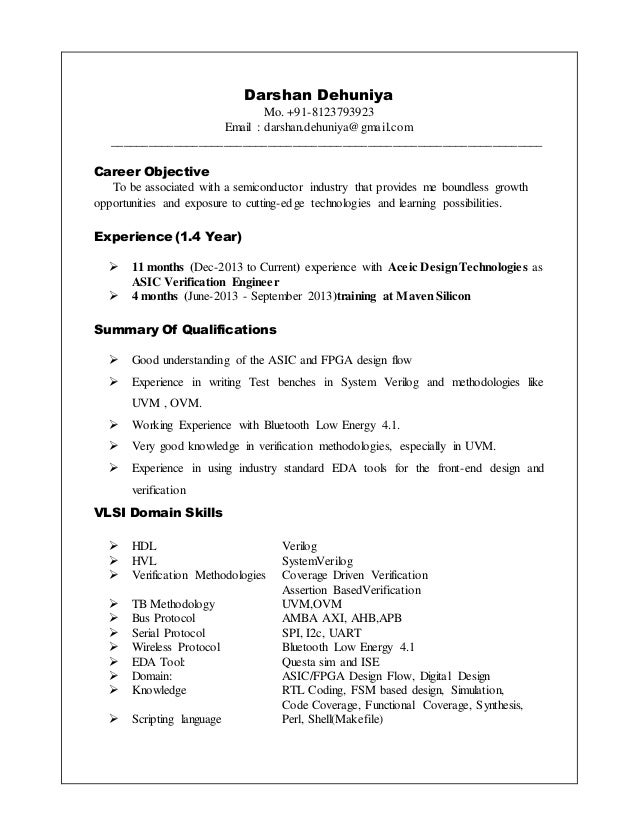 verification engineer resumes - Koran.ayodhya.co