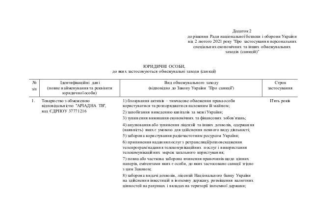 """Додаток 2 до рішення Ради національної безпеки і оборони України від 2 лютого 2021 року """"Про застосування персональних спе..."""