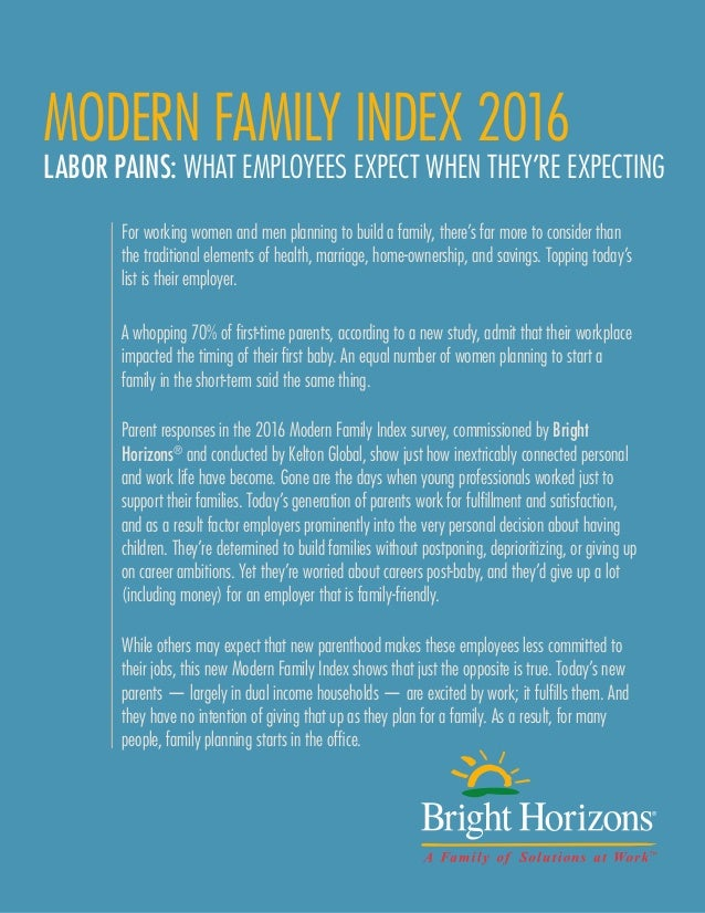 BRIGHT HORIZONS MODERN FAMILY INDEX 2016 PAGE 1 MODERN FAMILY INDEX 2016 LABOR PAINS: WHAT EMPLOYEES EXPECT WHEN THEY'RE E...