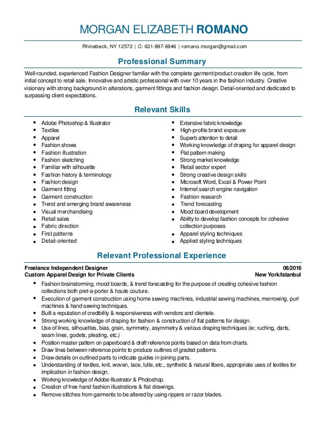 Fashion Design And Merchandising Resume 2016 Pdf. MORGAN ELIZABETH ROMANO  Rhinebeck, NY 12572 | C: 631 897 6946 ...
