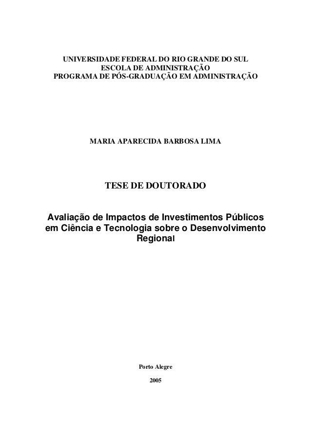 UNIVERSIDADE FEDERAL DO RIO GRANDE DO SUL ESCOLA DE ADMINISTRAÇÃO PROGRAMA DE PÓS-GRADUAÇÃO EM ADMINISTRAÇÃO MARIA APARECI...
