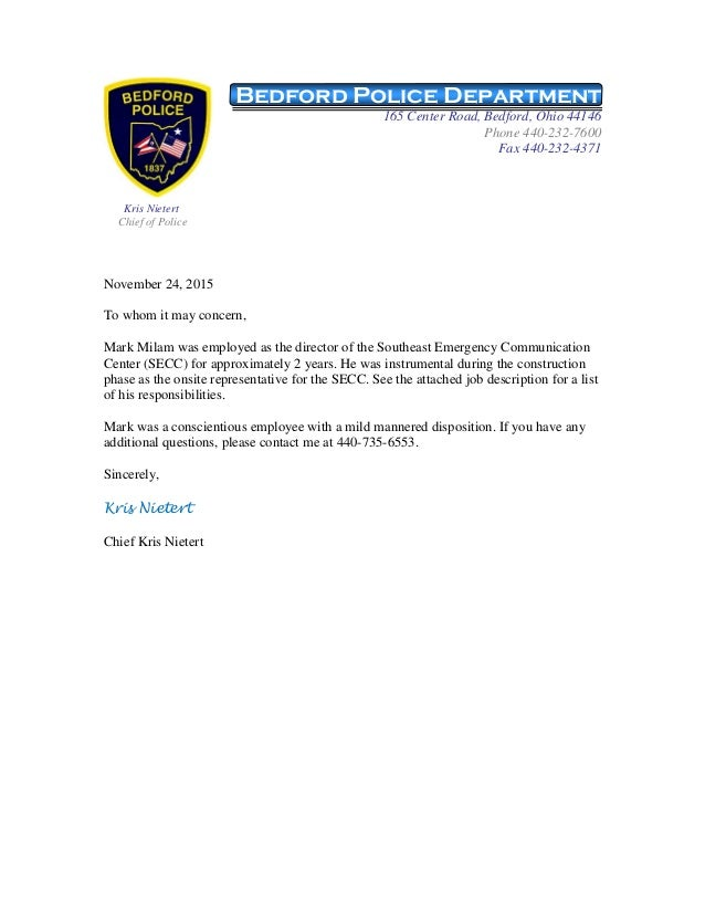 Mark Milam Reference Letter From Bedford Police Chief Kris