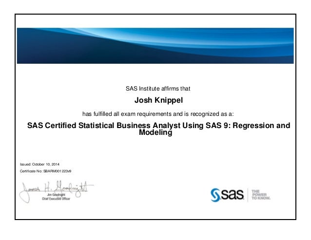 SAS Business Analyst Certification