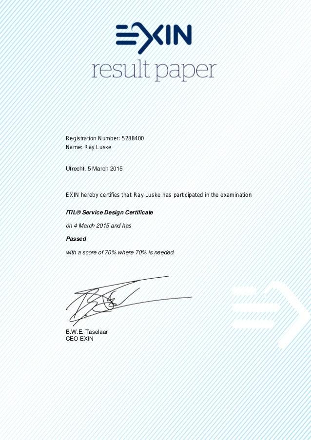 Itil Service Design Certificate