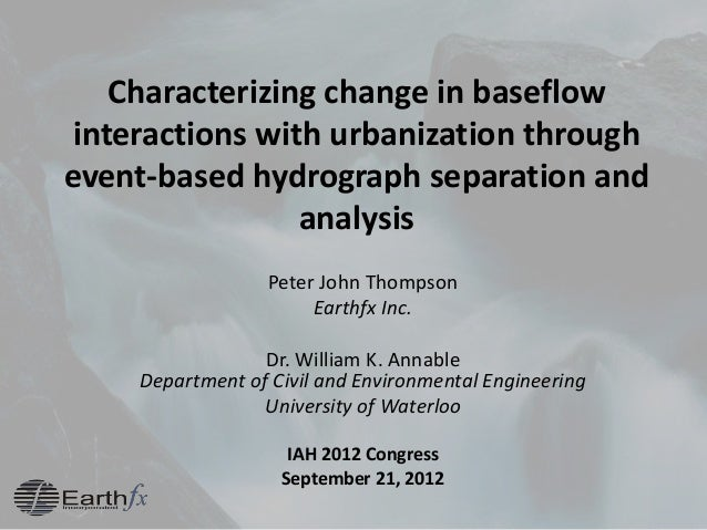 Characterizing change in baseflow interactions with urbanization through event-based hydrograph separation and analysis Pe...