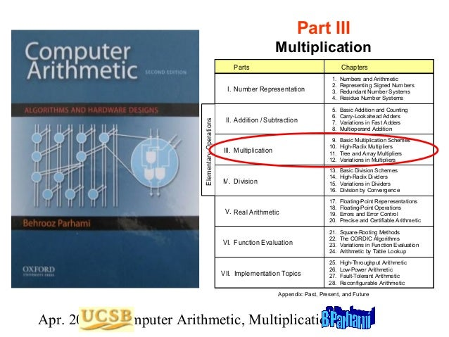 Part III Multiplication Parts  Chapters 1. 2. 3. 4.  Numbers and Arithmetic Representing Signed Numbers Redundant Number S...