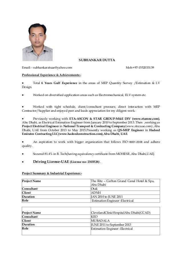 SUBHANKAR DUTTA Email: - subhankaratuae@yahoo.com Mob:+97-1552033139 Professional Experience & Achievements:-  Total 6 Ye...