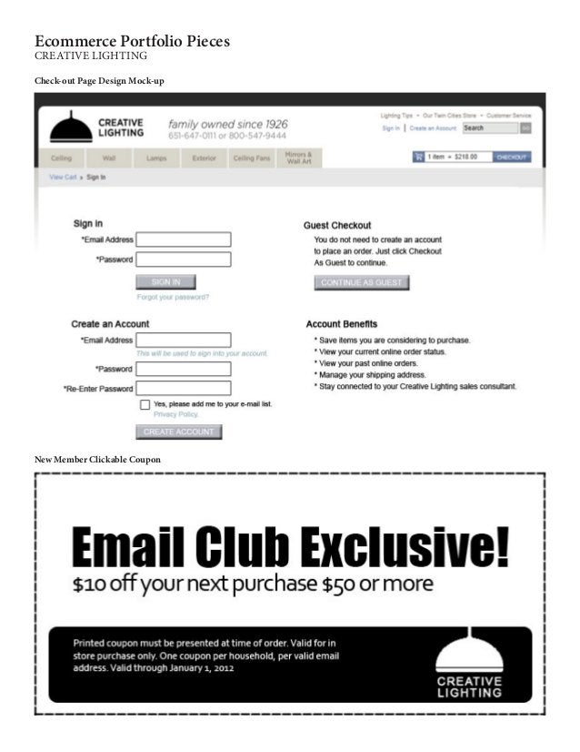 Check-out Page Design Mock-up Ecommerce Portfolio Pieces CREATIVE LIGHTING New Member Clickable Coupon