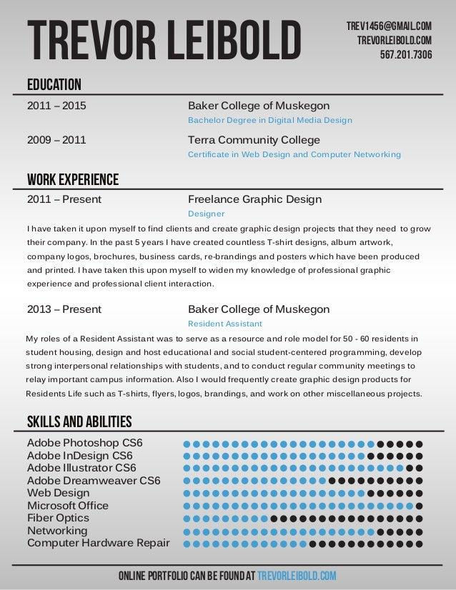 Graphic Design Resume. Adobe Photoshop CS6 Adobe InDesign CS6 Adobe  Illustrator CS6 Adobe Dreamweaver CS6 Web Design Microsoft Office