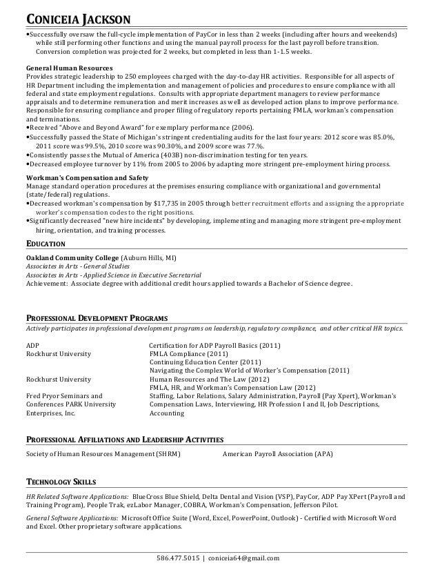 Payroll ResumeHRrevised – Hr Payroll Job Description