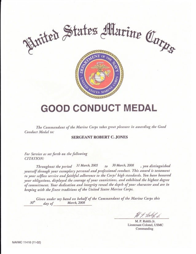 Good conduct medal for Army good conduct medal certificate template