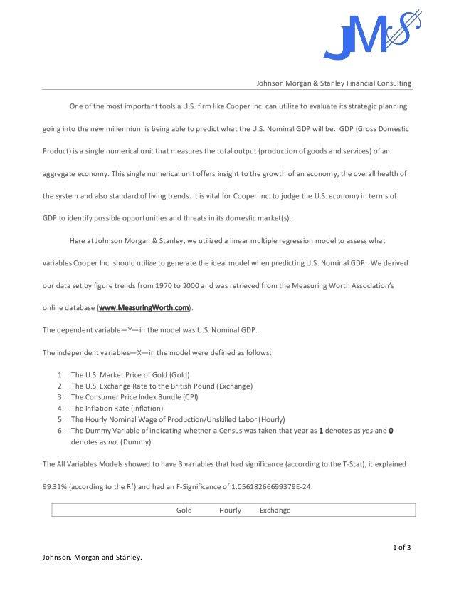 Johnson Morgan Stanley Managerial Report