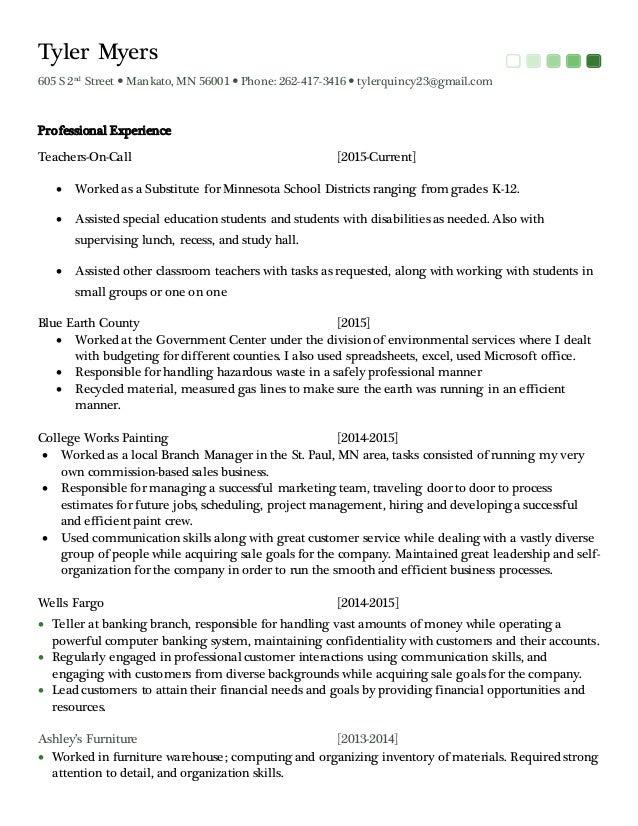 resume 2016 bs psychology