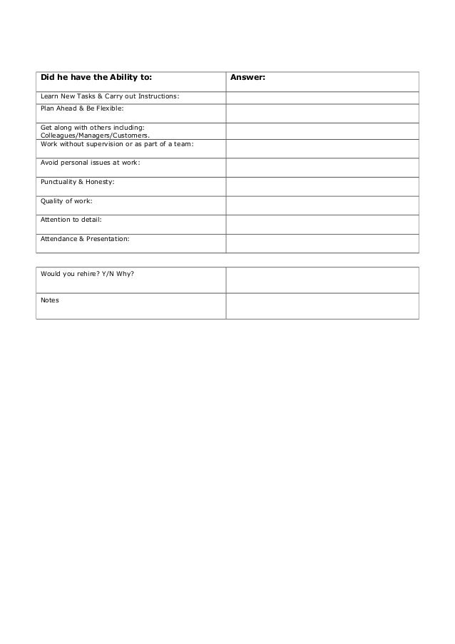 Reference Check Template Pre Employment Reference Check Template