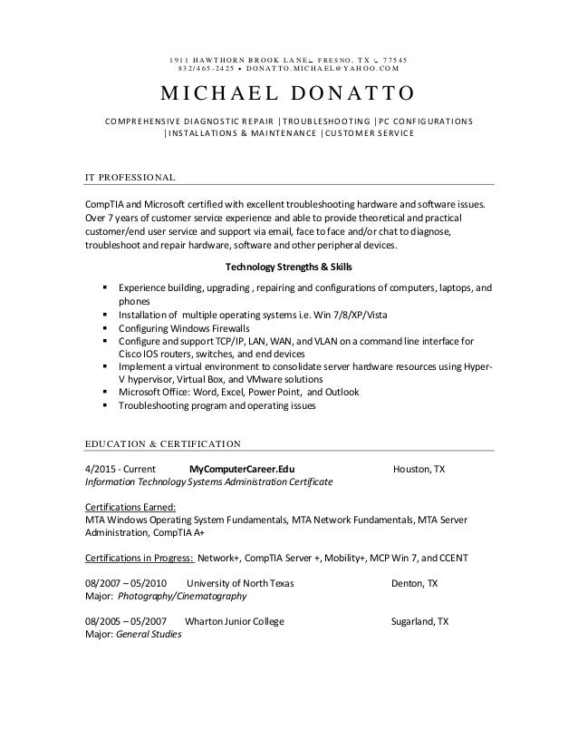 Michael Donatto Resume 2015 No COVER LETTER