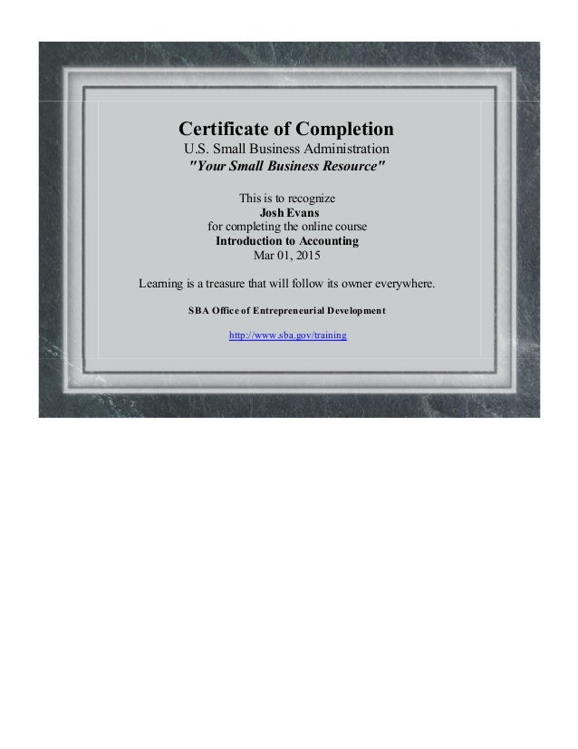 Introduction To Accounting Certificate