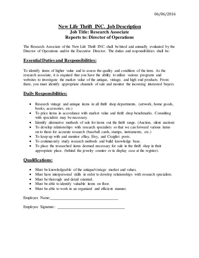 Research Associate Job Description