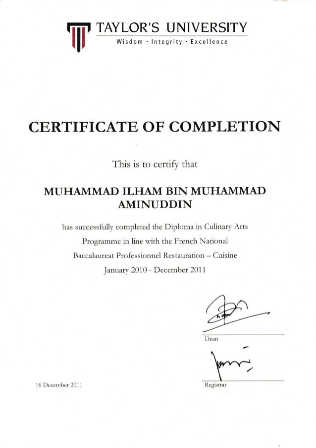 CERTIFICATE OF COMPLETION This is to certify that MUHAMMAD ILHA1VI BIN MUHAMMAD AMINUDDIN has successfully completed the D...