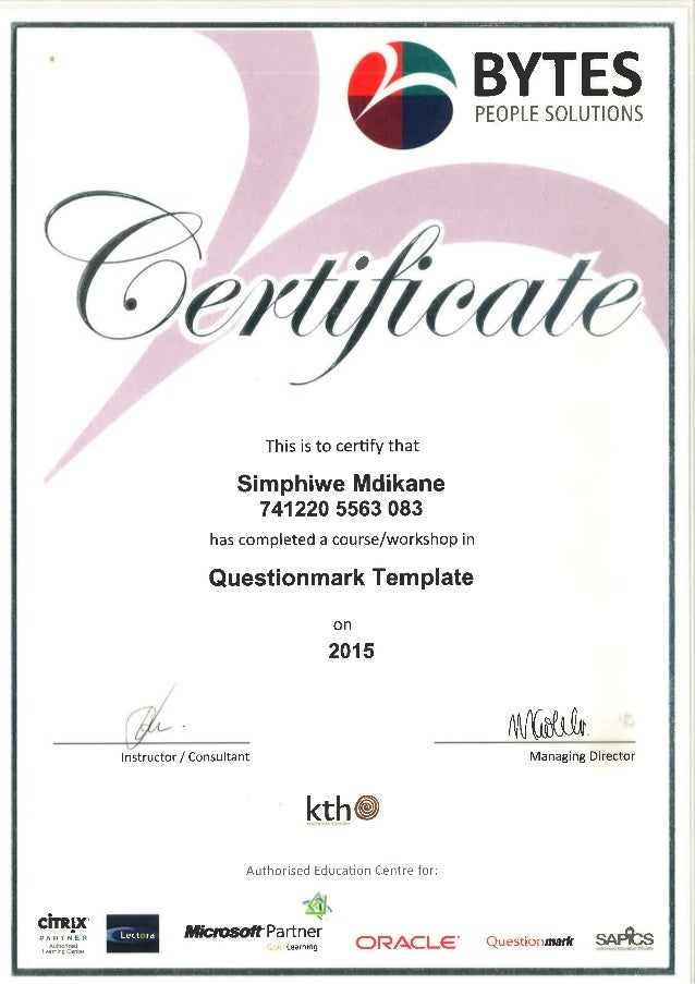 Questionmark template certificate of attendance for Certificate of attendance seminar template