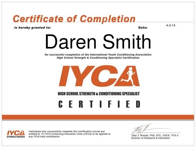 Iyca Cscs Certificate