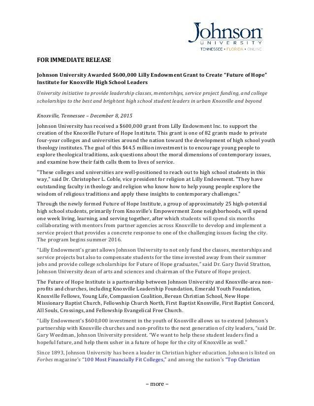 –  more  –   FOR  IMMEDIATE  RELEASE   Johnson  University  Awarded  $600,000  Lilly  En...