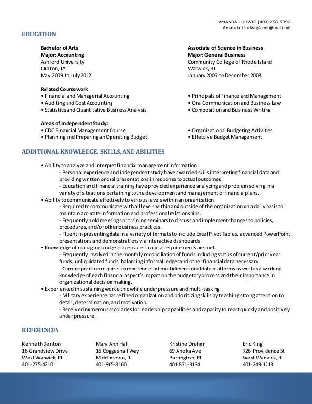 financial management resume